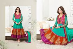 Beautiful Multi Colored Georgette anarkali With heavy work of embroidery en-crafted all over. Matching Shantoon Bottom and Aqua Chiffon Duppatta with Pink border and fine work of embroidery included.