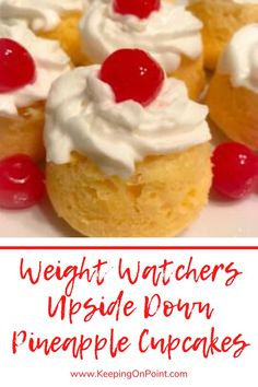 Low Calorie Recipes 635781672386130366 - Weight Watchers Upside Down Pineapple Cupcakes – only 4 points each for blue, green and purple! Source by keepingonpoint Low Calorie Desserts, Ww Desserts, Low Calorie Recipes, Dessert Recipes, Cupcake Recipes, Dessert Ideas, Weight Watchers Menu, Weight Watchers Desserts, Weight Watchers Cupcakes