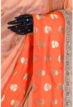 Pure Handloom Silk Embroidery-Peach & Gold-Bead Work-WH1558