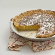 This old-fashioned pie typically has two distinctive ingredients, cornmeal and vinegar, plus other on-hand ingredients such as sugar, flour, eggs, milk and vanilla. This version is made easy with the use of refrigerated pie crusts.