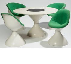 Jean-Pierre Laporte; Gel-Coated Fiberglass 'Diablo' Prototype Dining Set for Placide Joliet, c1970.