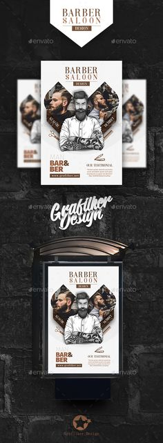 Barber Poster Templates — Photoshop PSD #hair #salon • Download ➝ https://graphicriver.net/item/barber-poster-templates/21495978?ref=pxcr