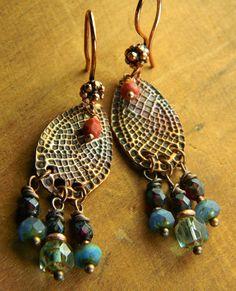Copper Snakeskin Patterned Earrings by Gloria Ewing.