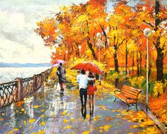 LOVE by the River - Palette kniffe Oil Painting On Canvas By Dmitry Spiros Size 24x24""