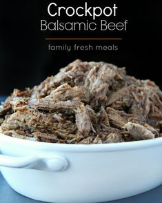 This Easy Crockpot Balsamic Beef will become your family's new favorite. It just doesn't make sense that something this easy to make could taste this good. Slow Cooker Soup, Slow Cooker Recipes, Crockpot Recipes, Cooking Recipes, Easy Recipes, Healthy Recipes, Family Fresh Meals, Easy Family Dinners, Family Recipes