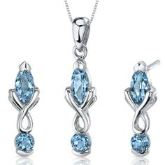 Ornate 2 Stone Design 2.25 carats Marquise Cut Sterling Silver with Rhodium Finish Swiss Blue Topaz Pendant Earrings Set Peora. $44.99