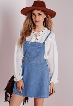 Missguided - Denim Pinafore Pocket Detail Mini Dress