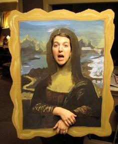 This is from a post on AOE's website about art teacher's costumes. Thanks to poster Mallory, a high scool art teacher! Teacher Halloween Costumes, 8th Grade Art, Kindergarten Art Projects, School Murals, Mona Lisa, Art Costume, Collaborative Art, Famous Art, Art Party