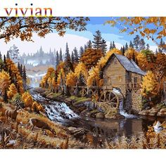 Frameless picture MS8456 autumn waterwheel paint by number kits unique gift home decor vi284 DIY digital oil painting -in Painting & Calligraphy from Home & Garden on Aliexpress.com | Alibaba Group