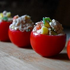 An easy, healthy and delicious snack or lunch. Fresh tomato stuffed with a light and tasty tuna salad.