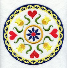 hex signs | ... Embroidery Library! - Hearts and Flowers Pennsylvania Dutch Hex Sign