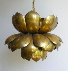 Brass LOTUS Blossom Pendant Chandelier This reminds me of the Strawberry Blossom light fixture that SS had in her Berry Happy Home! Estilo Hollywood Regency, Hollywood Regency Decor, Vintage Lighting, Cool Lighting, Indian Room, Contemporary Light Fixtures, Copper And Brass, Pendant Chandelier, Interior Lighting