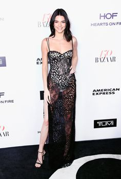 Kendall.. La Perla sheer slip dress, La Perla bodysuit underneath, and Mattia Cielo jewels...