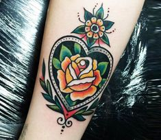 Nov 2018 - Pretty 3 colors traditional old school tattoo style of Rose in heart motive done by artist Sam Ricketts Coeur Tattoo, 1 Tattoo, Tattoo Fonts, Piercing Tattoo, Luck Tattoo, Piercings, Tattoo Flash, Tattoo Girls, Girl Tattoos