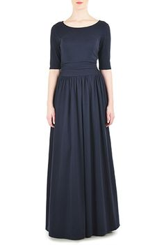 I <3 this Ruched waist cotton knit maxi dress from eShakti