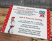 Dr. Seuss 1 Thing 2 Thing Shower or Party Invitation Deposit