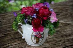 Roses William Shakespeare  Clématite heracleifolia Côte d'Azur  Géranium hymalayense  Cerinthe purpurascens  Pois de senteur Pastel Sunset