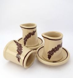 Tepco China Creamer and Butter Pat, Pine Cone Individual Creamer and Butter Plate, Restaurant Ware Brown Transferware by MinniesFlea on Etsy
