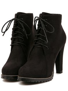 Black Platform Lace Up Rugged High Heeled Boots 35.00