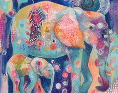 Colorful Elephant, Elephant Love, Domino Art, Elephant Canvas, Fine Art Drawing, Mixed Media Canvas, Art Journal Pages, Animal Paintings, Illustrations