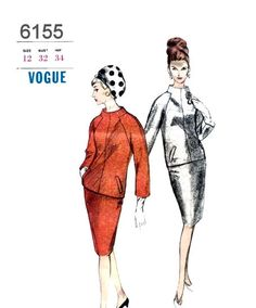 Vogue 6155 Vintage 1960s Pattern Raglan Sleeve Funnel Neck Overblouse/Jacket and Pencil Skirt by sydcam123