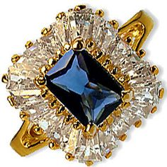 Blue Cocktail Ring Faux Sapphire Cubic Zirconia 24k Gold Bonded r283g
