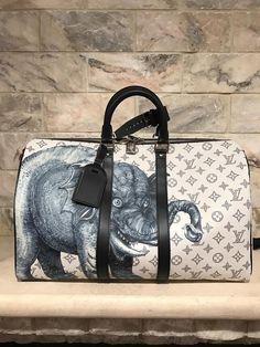 NWT Louis Vuitton White Elephant Safari Chapman Brothers Keepall 45 SS17 Runway