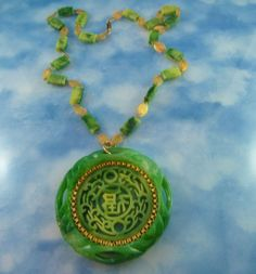 Signed Faux Jade Asian Motif Gold Tone Pendant Statement Necklace