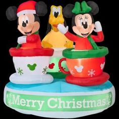 Home Accents Holiday, Disney 5 ft. Airblown Lighted Animated Mickey and Friends Teacup Ride, 86252X at The Home Depot - Mobile $159