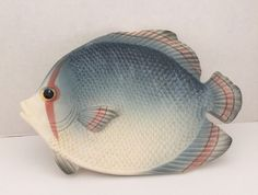 Fitz And Floyd Blue Fish Plate/Wall Hanging Inches Long Plate Wall, Plates On Wall, Pretty Fish, Fish Wall Art, Fish Plate, Blue