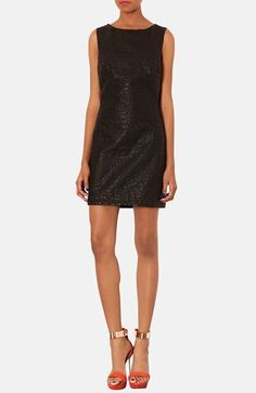 Topshop Quilted Faux Leather Shift Dress