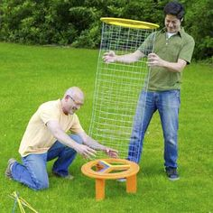 Enjoy endless outdoor fun with this yard-size version of the ball-drop game, made from wire fencing and plant stakes.