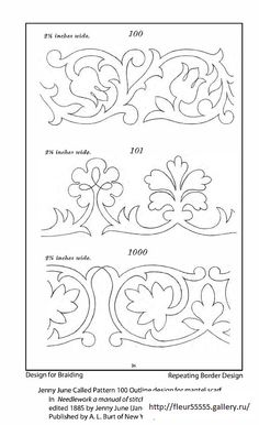 ru / Foto # 26 - 231 - Love the top one Ribbon Embroidery, Embroidery Patterns, Quilt Patterns, Border Design, Pattern Design, Bordado Jacobean, Motif Arabesque, Leather Pattern, Heirloom Sewing