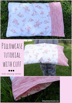 Sewing Pillows Pillowcase with Cuff Tutorial - Sewing Projects for Kids Series - This pillowcase with cuff isn't as hard as it seems. This is a great sewing project for a kid. Find out how to sew it up in around an hour. Sewing Lessons, Sewing Hacks, Sewing Tutorials, Sewing Crafts, Tutorial Sewing, Sewing Tips, Fabric Crafts, Sewing Patterns Free, Free Sewing