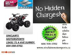 ★★★125CC TAO TAO SEMI AUTO WHOLESALE DIRECT★★★ ★★★125CC TAO TAO SEMI AUTO WHOLESALE DIRECT★★★THE TEENS JUST LOVE THESE. ★★★SINCLAIR'S MOTORSPORTS WHOLESALE★★★ # 1 SOURCE FOR ALL ... Tao Tao, Vancouver British Columbia, Surrey, Just Love