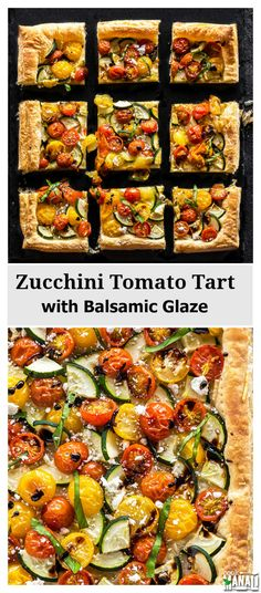 Zucchini Tomato Tart with Balsamic Glaze-Easy springtime Zucchini Tomato Tart with Balsamic Glaze. The perfect appetizer to serve at your spring parties! Tart Recipes, Appetizer Recipes, Vegetable Recipes, Vegetarian Recipes, Appetizers, Healthy Recipes, Zucchini Tarte, Zucchini Tomato, Healthy Cooking