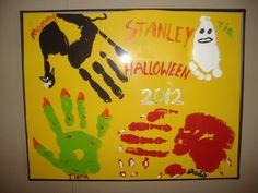 Halloween family handprint painting