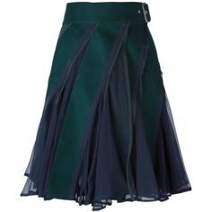 Sacai paneled flared skirt ($820) ❤ liked on Polyvore featuring skirts, green, blue wool skirt, green skater skirt, green circle skirt, sacai and sacai skirt