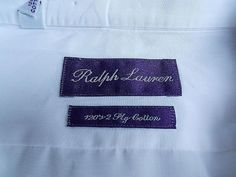 Ralph Lauren Dress Shirt Sz 18 White Purple Label XXL Mens Cotton Italy