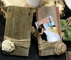 Barn Wood picture frame with handmade burlap flower Your choice of cream or brown burlap flower Please include choice of flower in order