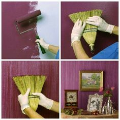 I've seen this technique in a dining room with purple and silver... thought it was wallpaper! Wonder if I can do it with green and brown and make it look like grass paper?