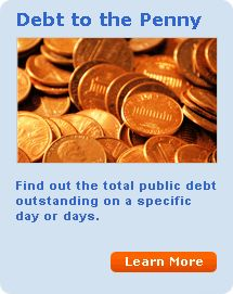 Debt to the Penny.  Find out the total public debt outstanding on a  specific day or days. Learn More...