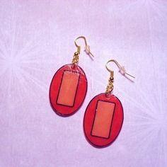 Boucles d'oreilles ovales, rouge, beige rosé - 106-1
