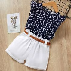 Bear Leader 2019 New Summer Casual Children Sets Flowers Blue T-shirt+ Pants Girls Clothing Sets Kids Summer Suit For Years Baby Girl Dress Patterns, Dresses Kids Girl, Baby Dress, Kids Outfits Girls, Dress Girl, Baby Outfits, Cute Outfits, Pretty Outfits, Casual Outfits