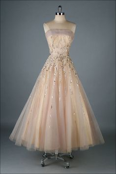 Vintage 1950's Mildred Moore Sequins Tulle Princess Gown