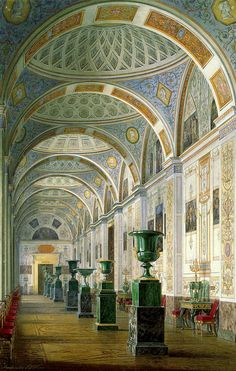 Watercolor by Edward Petrovich Hau in 1856 of the Interiors of the New Hermitage: The Gallery of the History of Ancient Painting. The Painting is located in The State Hermitage Museum in St. Petersburg, Russia in Inventory Number: Russian Architecture, Beautiful Architecture, Art And Architecture, Palace Interior, Church Interior, Hermitage Museum, Hermitage Russia, Winter Palace, Interior Rendering