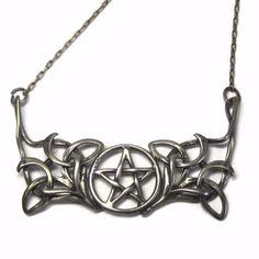 Vintage Sterling Pentagram Pentacle Necklace Art Nouveau Style