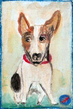 Toy Fox Terrier - vintage style, oil pastels