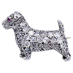 Antique Victorian Scotch Terrier Puppy Dog Diamond Ruby Silver Gold Brooch For Sale at Antique Brooches, Gold Brooches, Dog Jewelry, Animal Jewelry, Scottish Terrier Puppy, Dogs And Puppies, Dog Lovers, Vintage Jewelry, Lion Sculpture