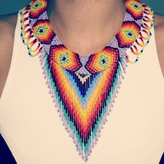 New Arrivals :) #beaded #tribal #authentic #fringe #necklace #rainbow #colorful…